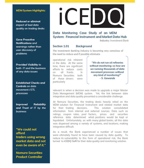 Investment Bank Data Auditing & Monitoring-iCEDQ
