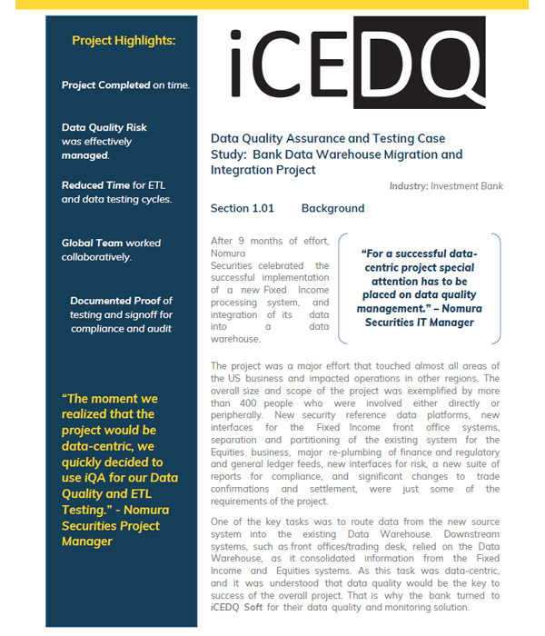 Investment Bank Data Quality Assurance & Testing-iCEDQ