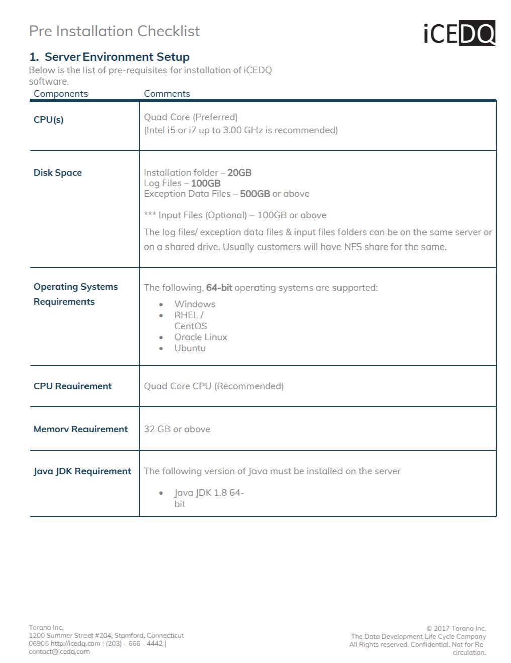 Pre-Installation Checklist Preview-iCEDQ