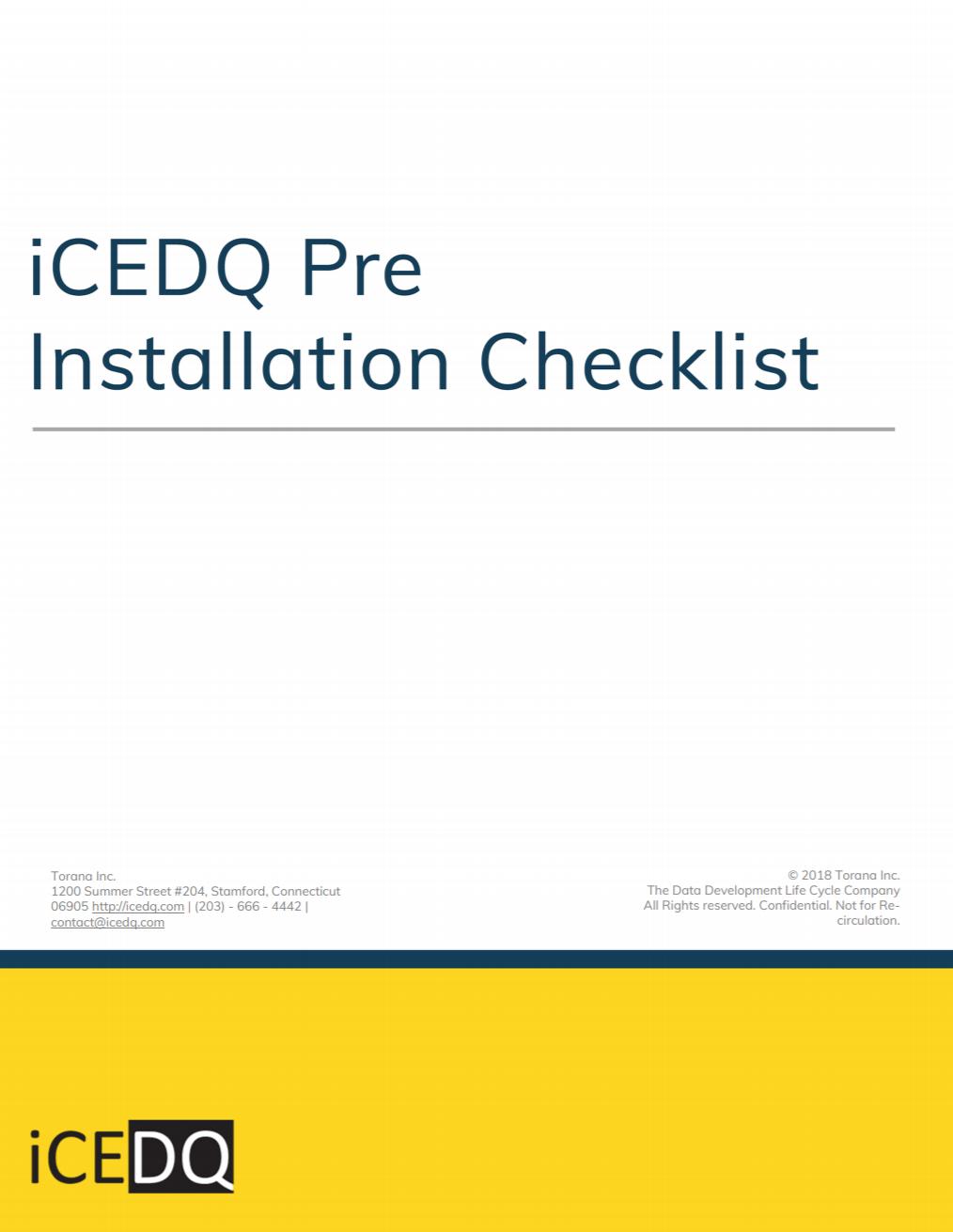 iCEDQ Pre Installation Checklist-iCEDQ